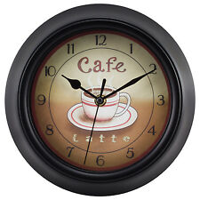 "4804G Geneva Clock Company 9"" Coffee Theme Analog Wall Clock"