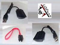 "Adapter USB auf SATA S-ATA IDE 2.5"" 3.5"" Festplatte DVD CD RW + SATA-Datenkabel"
