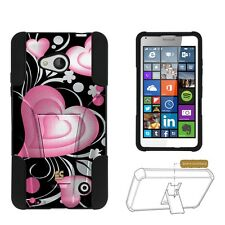 Microsoft Lumia 640 (2015 Window Phone) Pink Hearts Armor Hybrid Dual Cover Case