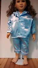 Blue satin pajamas fit 23 inch My Twinn doll handmade and new