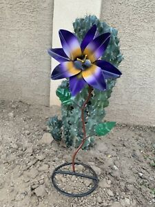 "Single Purple Lily Metal Art  .  Patio Decor . Bright Colors 18"" Tall"