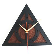 Harry Potter Deathly Hallows Design Wood Color Clock Home Decor Art Gifts