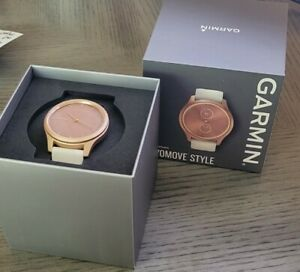 Garmin Vivomove Style Rose Gold White Silicone Band with box and all accessories