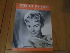 C1950s Sheet Music With All My Heart Petula Clark