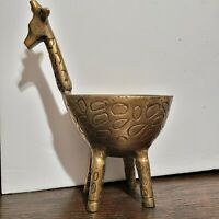 Vintage Brass Giraffe planter Pot Animal Home Decor Plant Tall