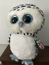 "TY BEANIE BOOS - LUCY the 16"" SNOW OWL - MINT with TAG - JUSTICE EXCLUSIVE"