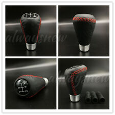 5 Speed Leather Red Stitche Gear Stick Shift Knob Universal Manual Car  Shifter