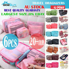 6PCS Travel Luggage Organizer Set Backpack Storage Pouches Suitcase Packing Bags