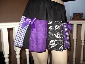 Tartan Purple Skirt Adult Black White Funky skulls Gothic Festival steampunk uk