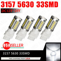 4Pcs White 3157 3457 3057 Signal 33SMD Backup Reverse Tail Turn LED Light Bulb