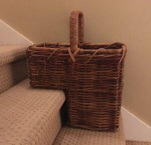 Vintage Handwoven Large Wicker Stair Step Basket Storage Handle