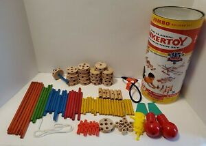Classic Tinkertoy Construction Set By Hasbro Wood Pieces Incomplete