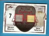 MICKEY MANTLE GAME USED JERSEY & JACK NICKLAUS SHIRT CARD #d2/3 LEAF ENSHRINED