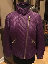 Black Rivet Quilted Purple Jacket Fitted Diagonal Zip Motorcycle Size M
