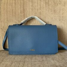 NEW FURLA BLUE Incanto crossbody bag Calf Leather EXTRA Card Wallet & Top Handle