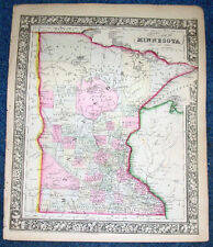Origial 1862 Hand Colored Mitchell Engraved Map of Minnesota State