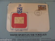 New Zealand FDC w/ 23 kt gold replica stamp 1980 Water Sports in the Tokelaus