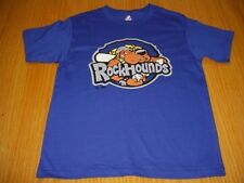 NEW MINOR LEAGUE MIDLAND ROCKHOUNDS BLUE T-SHIRT BOYS L 14 MAJESTIC COTTON