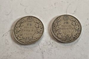 2 Canadian Half Dollars - King George V Silver Coins - 1913 and 1917