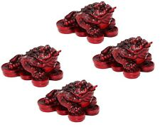 Set of 4 Feng Shui Mini Red Money Frog Coin Toad Home Decor Paperweights Gift
