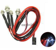 RC 1:10 On-Road Car LED Night 5mm White And 3mm Red Headlamps 4 LED Light Lamps