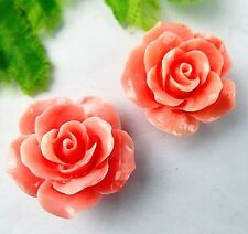 2pcs Beautiful pink Giant clam carved flower pendant bead 23x12mm BD279