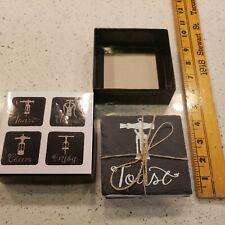 New listing Set Of 4 Black Stone Wine Cork Coasters Nib