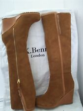L.K. Bennett Tan Wedge Knee High Sheepskin Lined Suede  Boots EU 37. UK 4.