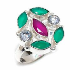 Ruby, Emerald, White Topaz Gemstone 925 Sterling Silver Ring Size 8