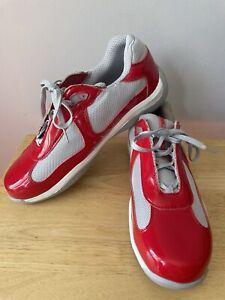 Prada Mens Sneakers America's Cup Patent Red & Gray US 12 EU 46
