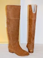 aaf91cd21c607 New  275 Michael Kors Regina Flat Boot Riding Over Knee Dark Caramel Brown  Suede