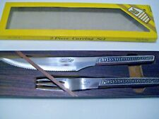Kane Kut Carving Knife & Fork Set Stainless Steel Rosewood Handles & Case IOB