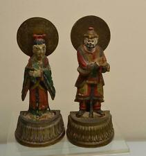 """Asian Bookends Vintage Wood & Brass Man & Woman Hand Carved Figurines 8.25"""" tall"""