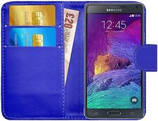 Premium Luxury Leather Flip Wallet Book Case Cover for Samsung Galaxy Note 4 Blue
