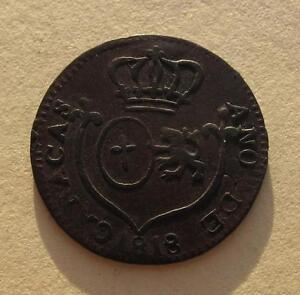 1818 Venezuela CARACAS 1/4 Real Copper Coin C#2 Royalists Ferdinand VII SCARCE