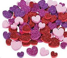"30 Glitter Heart Valentine Foam Beads Kids Craft 1/2"" -  1"" Pink Purple Red"
