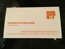 MAD MEN Original Movie Prop SC&P ROGER STERLING Business Card Screenbid