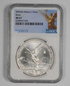 MS67 2002 Mexico 1 Onza Silver Libertad - Graded NGC *960