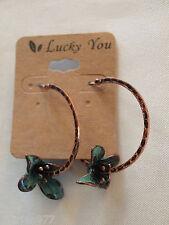 LUCKY YOU Antiqued Brass Tone Hoop Earrings