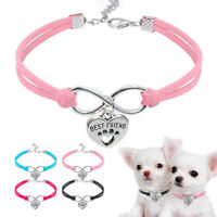 Soft Suede Leaher Small Dog Cat Collars & Tags Engraved Pet Puppy Necklace S M