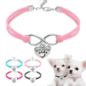 Cat Necklace with Heart Pendant Soft Suede Leather Kitten Pet Collar Pink Blue
