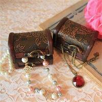 Vintage Jewelry Lock Necklace Bracelet Storage Organizer Wooden Case Gift Box JH