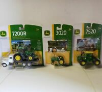John Deere 7520; 3020; & 7200R Tractors 1/64 Scale  New In Packages  ERTL Save!