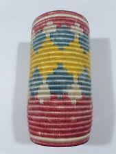 Rwandan Tall 9 inch Basket Colorful Hand Woven Yellow Pink Cream Blue