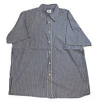 Lacoste Vertical Striped Short Sleeve Button Up Summer Shirt Mens Size 43 Blue