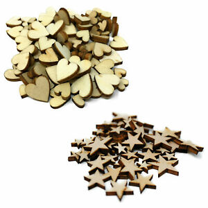 MINI Wooden Stars Hearts Embellishments Small Shapes Craft Decoration Scrapbook