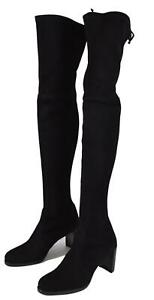 New $835 Stuart Weitzman TIPLAND Black Suede Over the Knee Tall Boots