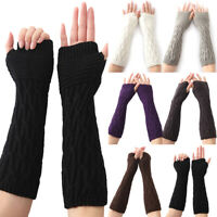 Womens Stretchy Half Finger Gloves Long Arm Hand Warmers Protected Mittens Plain