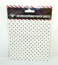 20 GREASEPROOF PAPER SQUARE SHEETS White Black STARS Red BBQ Dine GARDEN PARTY