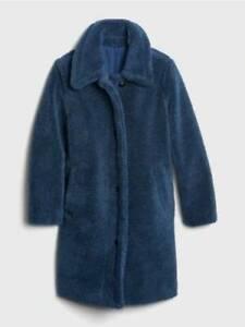 NWT! GAP Blue Night Sherpa Teddy Bear Oversized Overcoat Coat LARGE